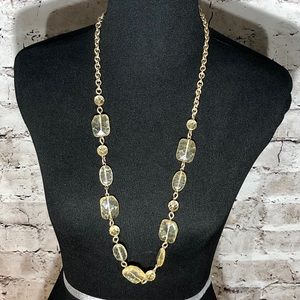 Long Gold tone Necklace with Clear/Yellow Color